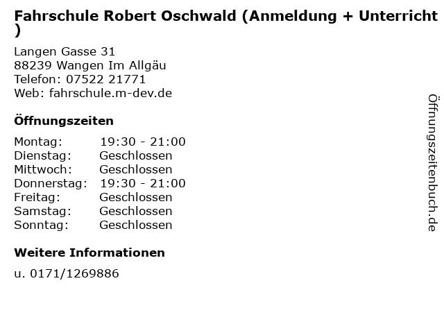 Fahrschule Robert Oschwald (Anmeldung + Unterricht) in Wangen Im Allgäu: Adresse und Öffnungszeiten