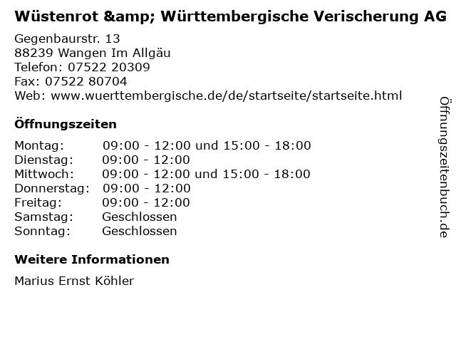 Wüstenrot & Württembergische Verischerung AG in Wangen Im Allgäu: Adresse und Öffnungszeiten