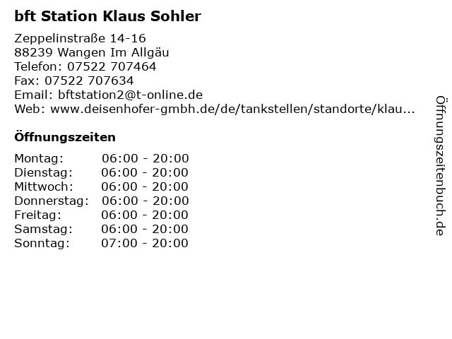bft Station Klaus Sohler in Wangen Im Allgäu: Adresse und Öffnungszeiten
