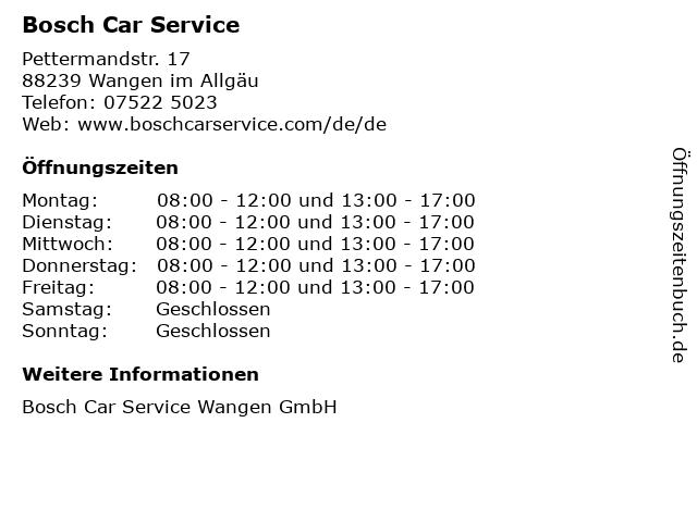 Bosch Car Service in Wangen im Allgäu: Adresse und Öffnungszeiten