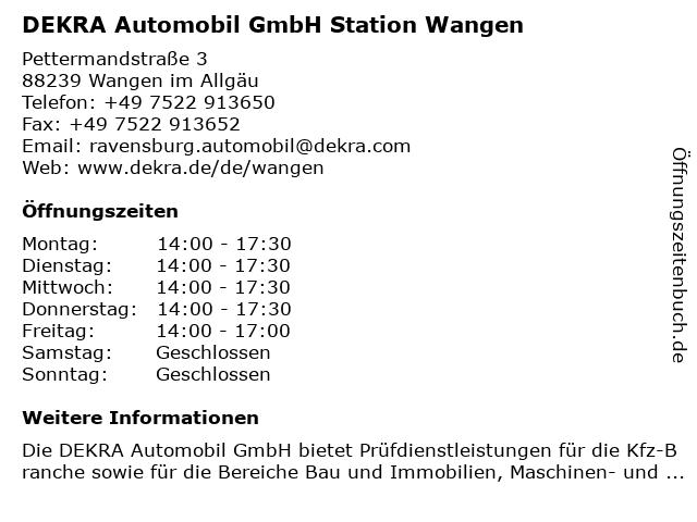 DEKRA Automobil GmbH Station Wangen in Wangen im Allgäu: Adresse und Öffnungszeiten