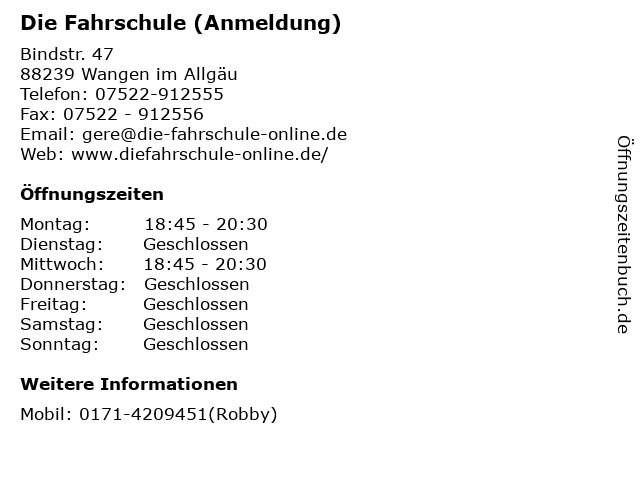 Die Fahrschule (Anmeldung) in Wangen im Allgäu: Adresse und Öffnungszeiten