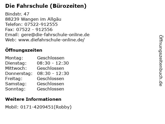 Die Fahrschule (Bürozeiten) in Wangen im Allgäu: Adresse und Öffnungszeiten