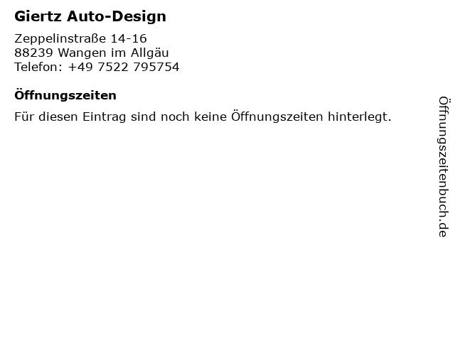 Giertz Auto-Design in Wangen im Allgäu: Adresse und Öffnungszeiten