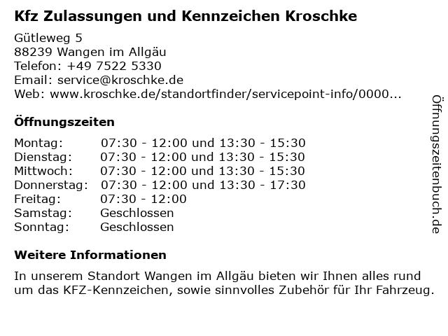 Kfz Zulassungen und Kennzeichen Kroschke in Wangen im Allgäu: Adresse und Öffnungszeiten