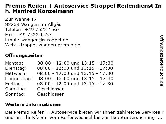 Premio Reifen + Autoservice Stroppel Reifendienst Inh. Manfred Konzelmann in Wangen im Allgäu: Adresse und Öffnungszeiten