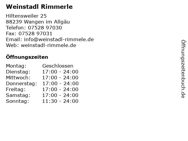 Weinstadl Rimmerle in Wangen im Allgäu: Adresse und Öffnungszeiten