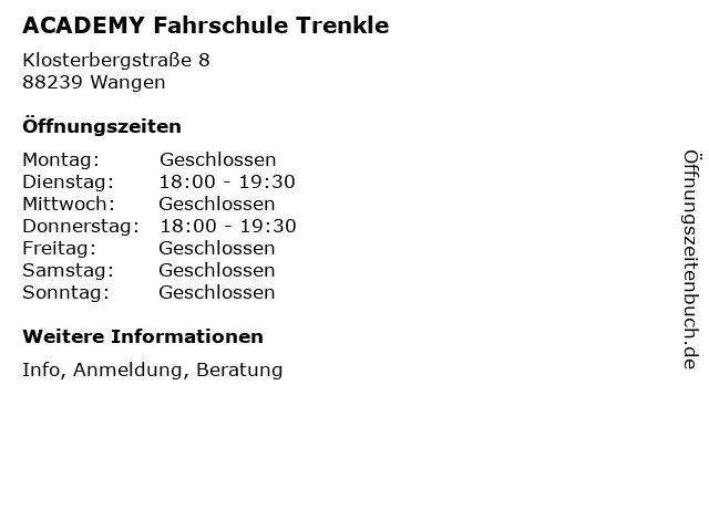 ACADEMY Fahrschule Trenkle in Wangen: Adresse und Öffnungszeiten