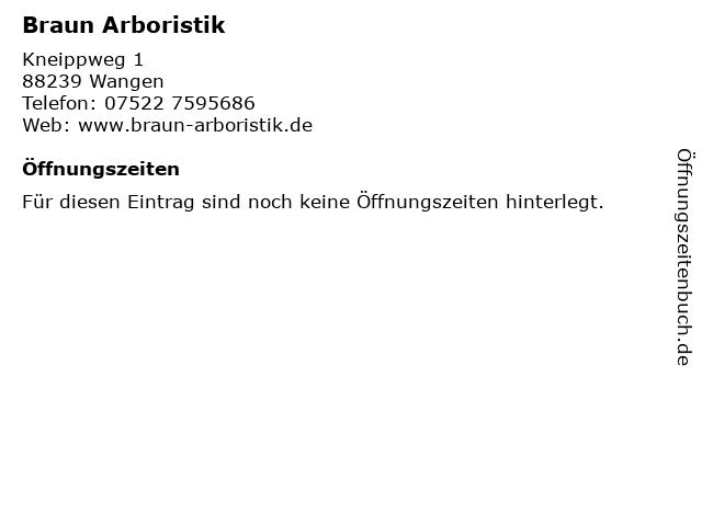 Braun Arboristik in Wangen: Adresse und Öffnungszeiten