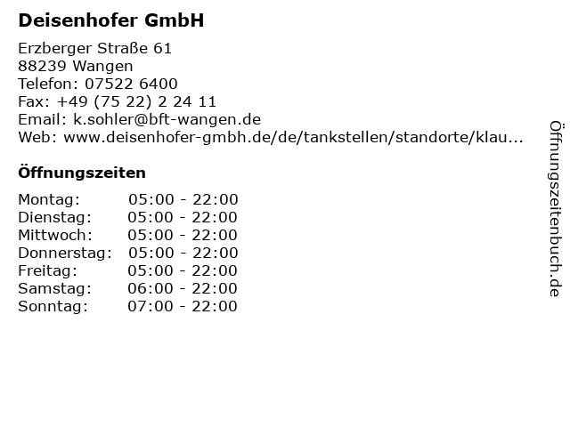 Deisenhofer GmbH in Wangen: Adresse und Öffnungszeiten
