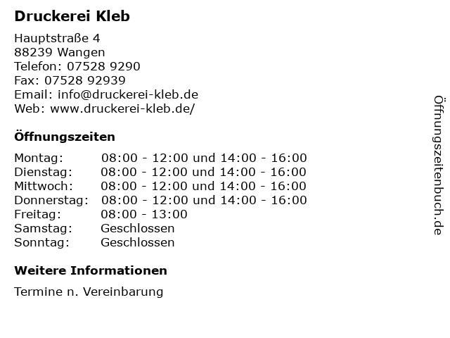 Druckerei Kleb in Wangen: Adresse und Öffnungszeiten