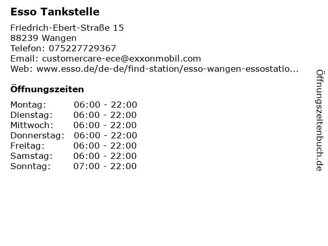 Esso Tankstelle in Wangen: Adresse und Öffnungszeiten