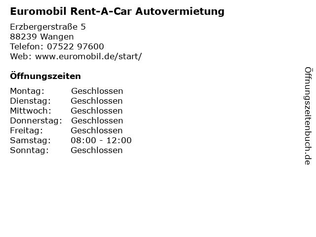 Euromobil Rent-A-Car Autovermietung in Wangen: Adresse und Öffnungszeiten