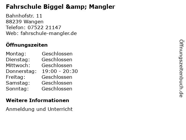 Fahrschule Biggel & Mangler in Wangen: Adresse und Öffnungszeiten