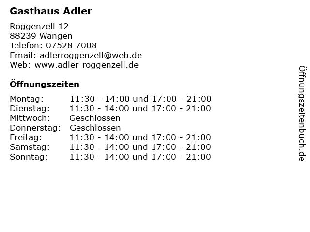 Gasthaus Adler in Wangen: Adresse und Öffnungszeiten