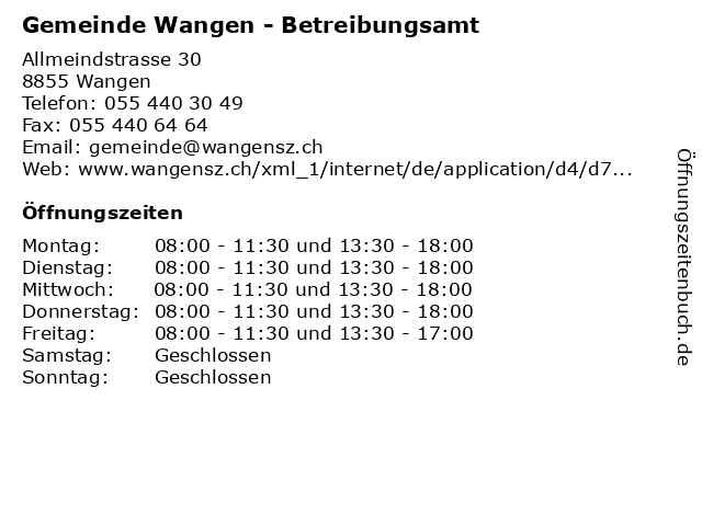 Gemeinde Wangen - Betreibungsamt in Wangen: Adresse und Öffnungszeiten