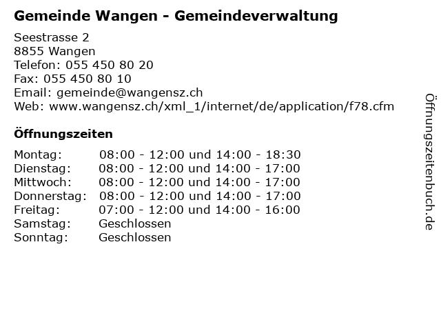 Gemeinde Wangen - Gemeindeverwaltung in Wangen: Adresse und Öffnungszeiten
