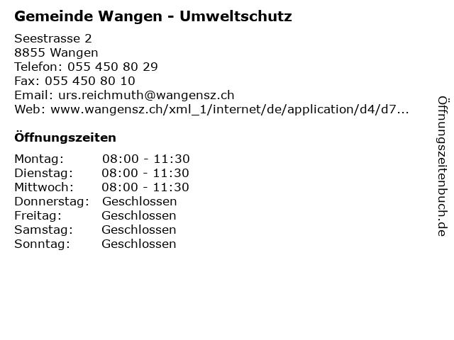 Gemeinde Wangen - Umweltschutz in Wangen: Adresse und Öffnungszeiten