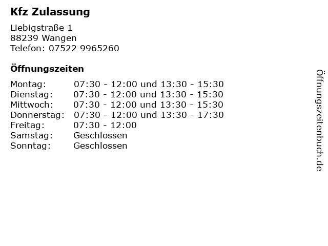 Kfz Zulassung in Wangen: Adresse und Öffnungszeiten