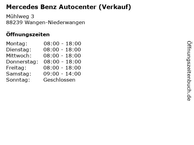 Mercedes Benz Autocenter (Verkauf) in Wangen-Niederwangen: Adresse und Öffnungszeiten