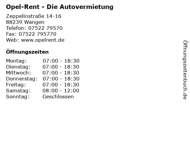 Opel-Rent - Die Autovermietung in Wangen: Adresse und Öffnungszeiten
