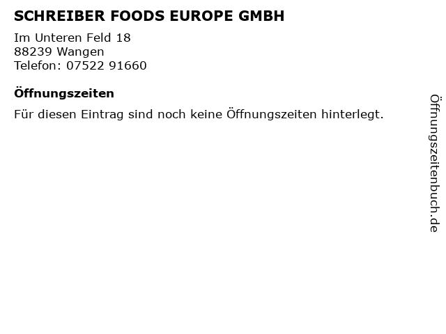 SCHREIBER FOODS EUROPE GMBH in Wangen: Adresse und Öffnungszeiten