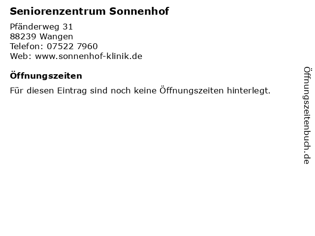Seniorenzentrum Sonnenhof in Wangen: Adresse und Öffnungszeiten