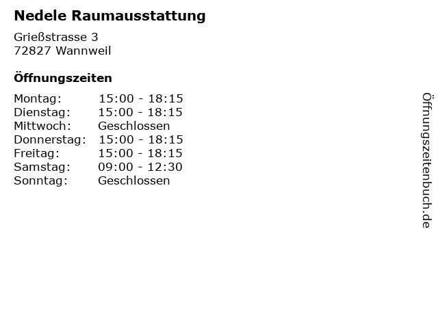 Nedele Raumausstattung in Wannweil: Adresse und Öffnungszeiten