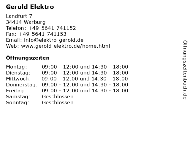 Gerold Elektro in Warburg: Adresse und Öffnungszeiten
