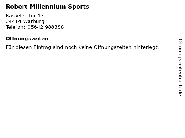 Robert Millennium Sports in Warburg: Adresse und Öffnungszeiten
