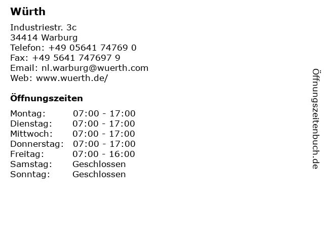 Würth in Warburg: Adresse und Öffnungszeiten