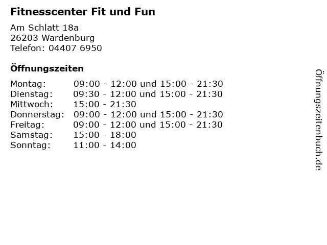 Fitnesscenter Fit und Fun in Wardenburg: Adresse und Öffnungszeiten