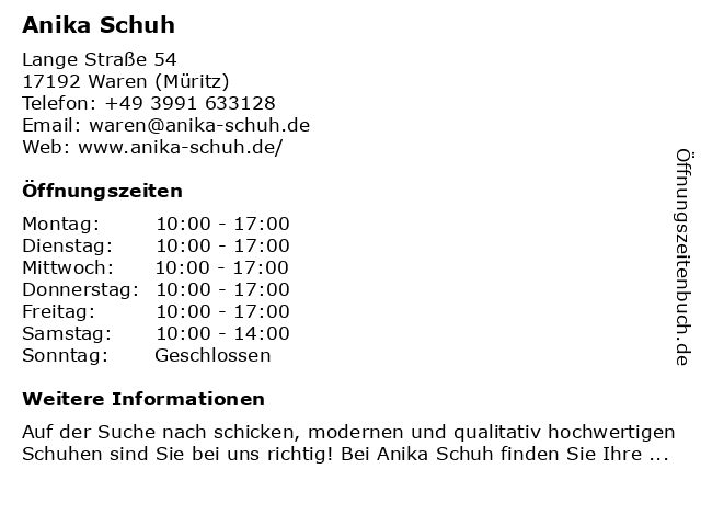 Anika Schuh in Waren (Müritz): Adresse und Öffnungszeiten