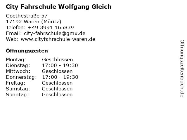 City Fahrschule - Bürozeiten in Waren An Der Müritz: Adresse und Öffnungszeiten