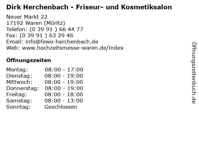 Dirk Herchenbach - Friseur- und Kosmetiksalon in Waren (Müritz): Adresse und Öffnungszeiten