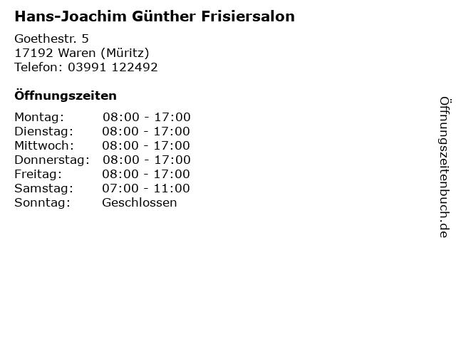 Hans-Joachim Günther Frisiersalon in Waren (Müritz): Adresse und Öffnungszeiten