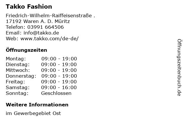 Takko Fashion in Waren A. D. Müritz: Adresse und Öffnungszeiten
