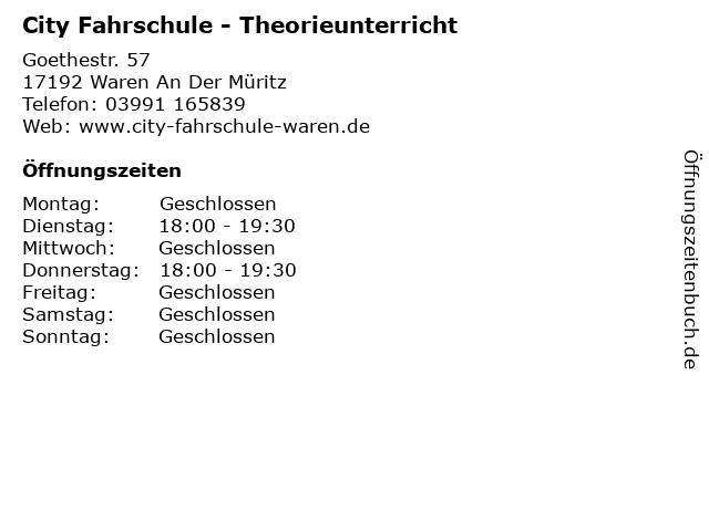 City Fahrschule - Theorieunterricht in Waren An Der Müritz: Adresse und Öffnungszeiten
