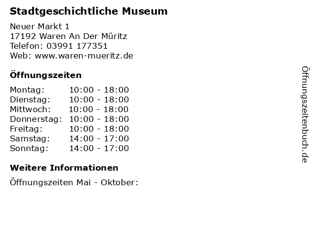 Stadtgeschichtliche Museum in Waren An Der Müritz: Adresse und Öffnungszeiten