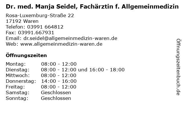 Dr. med. Manja Seidel, Fachärztin f. Allgemeinmedizin in Waren: Adresse und Öffnungszeiten