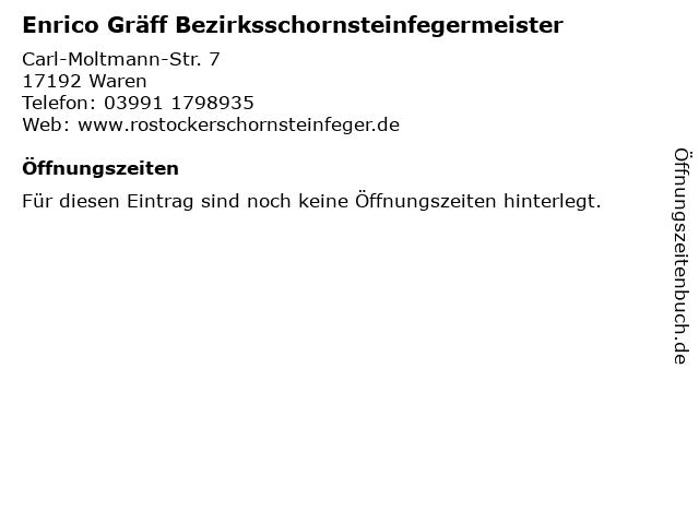 Enrico Gräff Bezirksschornsteinfegermeister in Waren: Adresse und Öffnungszeiten