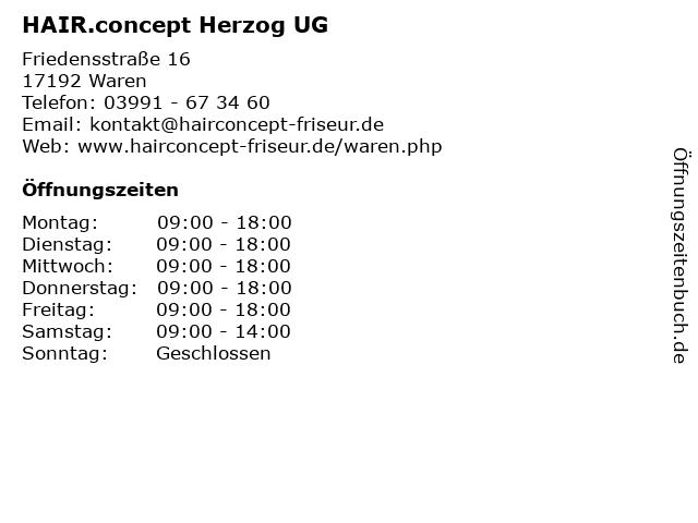 HAIR.concept Herzog UG in Waren: Adresse und Öffnungszeiten