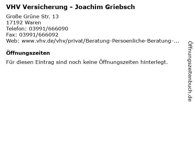 ᐅ Offnungszeiten Vhv Versicherung Joachim Griebsch Grosse