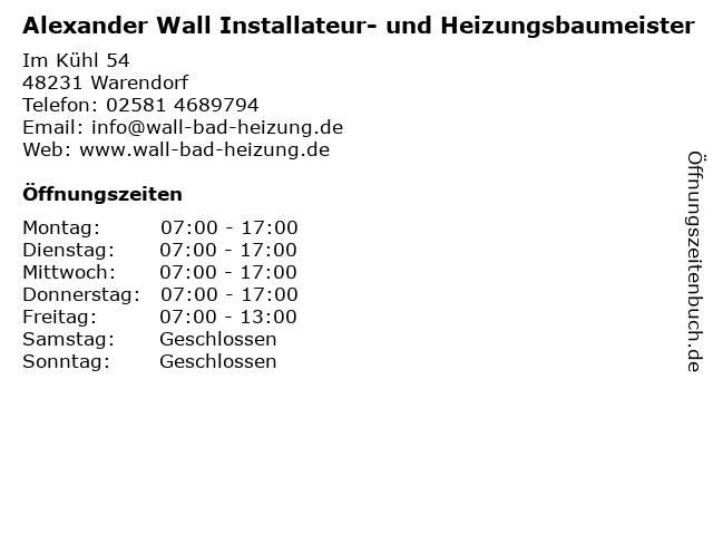 Alexander Wall Installateur- und Heizungsbaumeister in Warendorf: Adresse und Öffnungszeiten