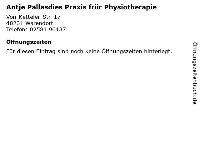 Antje Pallasdies Praxis frür Physiotherapie in Warendorf: Adresse und Öffnungszeiten