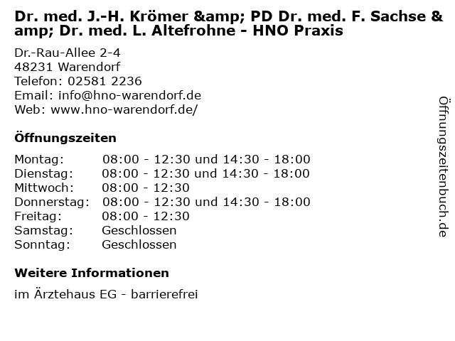 Dr. med. Jan-Hendrik Krömer - Facharzt für Hals-Nasen-Ohrenheilkunde in Warendorf: Adresse und Öffnungszeiten