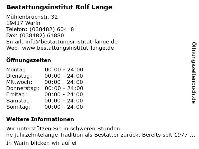 Bestattungsinstitut Rolf Lange in Warin: Adresse und Öffnungszeiten