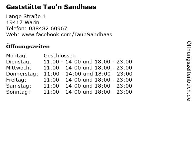 Gaststätte Tau'n Sandhaas in Warin: Adresse und Öffnungszeiten