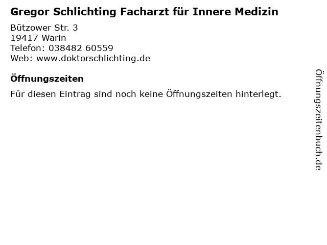 Gregor Schlichting Facharzt für Innere Medizin in Warin: Adresse und Öffnungszeiten
