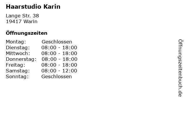 Haarstudio Karin in Warin: Adresse und Öffnungszeiten